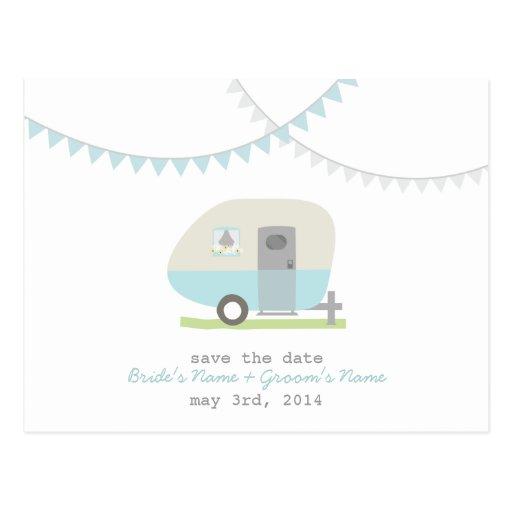 Blue Retro Trailer Wedding Save The Date Postcard