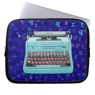 Blue Retro Typewriter on Rays Background Case Laptop Sleeves