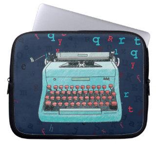 Blue Retro Typewriter on Type Background Case Laptop Computer Sleeves