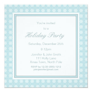 Blue Retro Vintage Christmas Holiday Winter Party Card