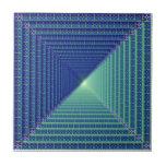 Blue Reverse Pyramid  Tile