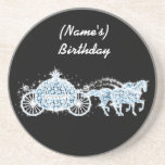 "Blue Rhinestone Cinderella Carriage Coaster<br><div class=""desc"">Use this rhinestone coaster as a favor or gift. Customize it as you need. Please note that Zazzle products print flat-there will NOT be crystals,  etc. on the invite. If you need help,  please feel free to contact me!</div>"