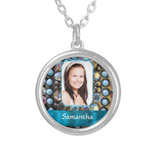 Blue rhinestone photo background silver plated necklace