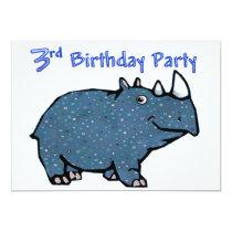 Blue Rhino 3rd Birthday Invitation