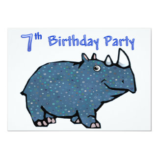 Blue Rhino 7th Birthday Card