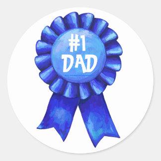 Blue Ribbon 1 Dad Stickers