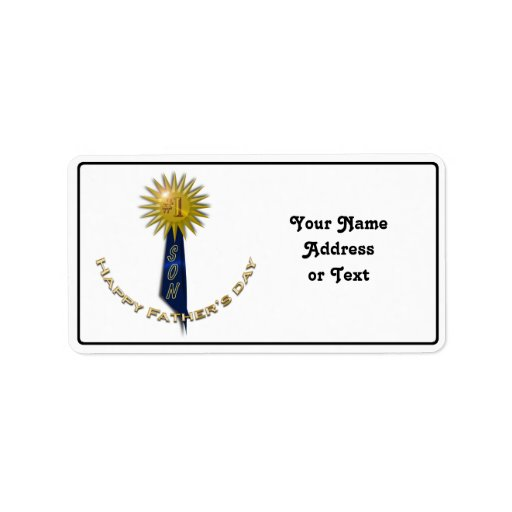 Blue Ribbon #1 Father's Day To Son Personalized Address Label