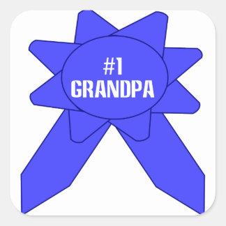 Blue Ribbon #1 Grandpa Square Stickers