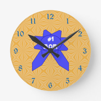 Blue Ribbon #1 Mom Changeable Textured Background Round Clock