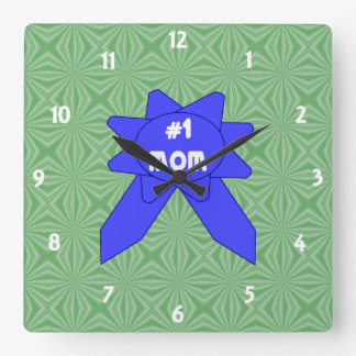 Blue Ribbon #1 Mom Changeable Textured Background Square Wall Clock