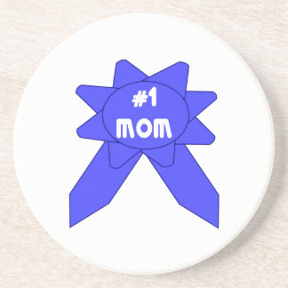 Blue Ribbon #1 Mom Sandstone Coaster