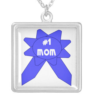 Blue Ribbon #1 Mom Silver Plated Necklace