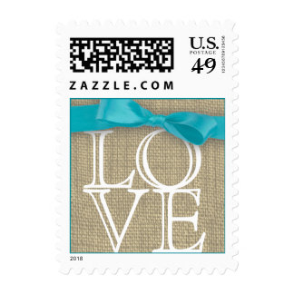 Blue Ribbon and Burlap Love Postage