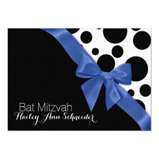 Blue Ribbon and Dots Bat Mitzvah Card