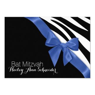 Blue Ribbon and Zebra Stripes Bat Mitzvah Card