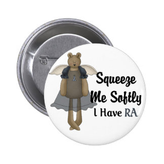 Blue Ribbon Angel Bear :: Squeeze Me Softly. 2 Inch Round Button