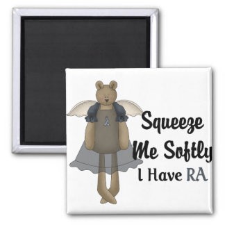 Blue Ribbon Angel Bear :: Squeeze Me Softly. 2 Inch Square Magnet