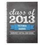 Blue ribbon banner chalkboard graduation student note book
