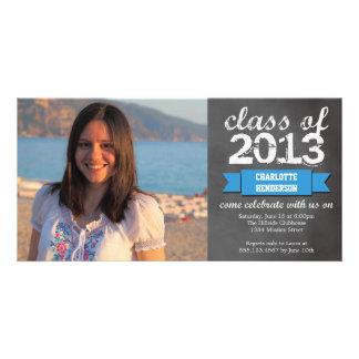 Blue ribbon banner chalkboard photo graduation card