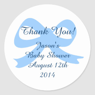 Blue ribbon bow thank you stickers for baby shower