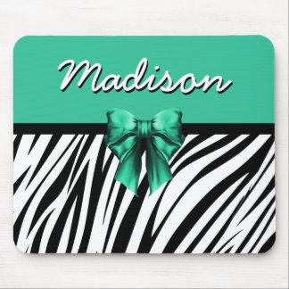Blue Ribbon Bow Zebra Print Mouse Pad