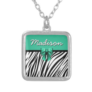 Blue Ribbon Bow Zebra Print Silver Plated Necklace