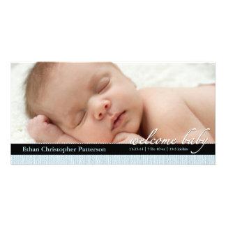 Blue Ribbon Boy Baby Birth Announcement Photocard