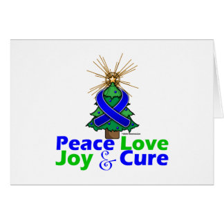 Blue Ribbon Christmas Peace Love, Joy & Cure Greeting Card
