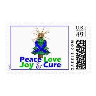 Blue Ribbon Christmas Peace Love, Joy & Cure Stamps