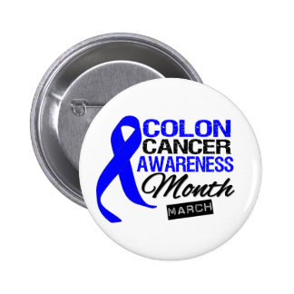 Blue Ribbon Colon Cancer Awareness Month 2 Inch Round Button