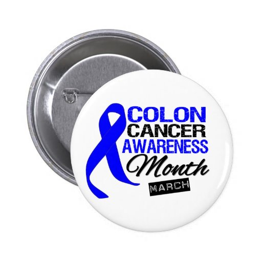 Blue Ribbon Colon Cancer Awareness Month Button