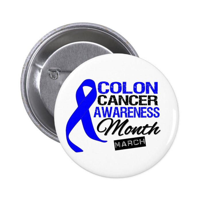 Blue Ribbon Colon Cancer Awareness Month Button