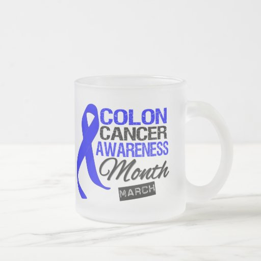 Blue Ribbon Colon Cancer Awareness Month Frosted Glass Mug