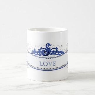 Blue Ribbon con la inscripción del amor Tazas De Café