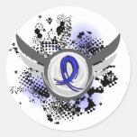 Blue Ribbon con las alas Ankylosing Spondylitis Pegatina Redonda