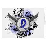Blue Ribbon con las alas Ankylosing Spondylitis Felicitación