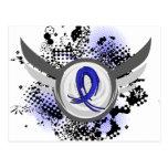 Blue Ribbon con las alas Ankylosing Spondylitis Tarjeta Postal