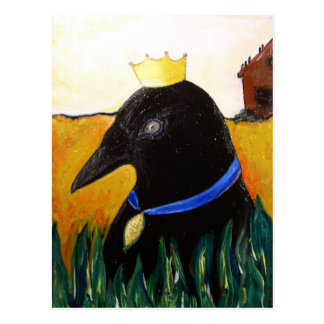 Blue Ribbon Crow Postcard