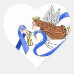 """""""Blue Ribbon"""" del ángel de la conciencia Pegatina En Forma De Corazón"""