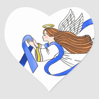 """""""Blue Ribbon"""" del ángel de la conciencia Pegatinas De Corazon Personalizadas"""