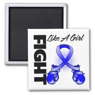 Blue Ribbon Fight Like A Girl 2 Inch Square Magnet