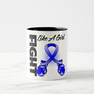 Blue Ribbon Fight Like A Girl Coffee Mugs
