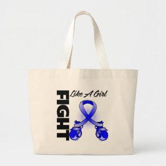Blue Ribbon Fight Like A Girl Jumbo Tote Bag