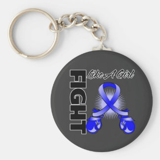Blue Ribbon Fight Like A Girl Basic Round Button Keychain