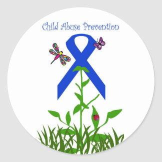 Blue ribbon flower Child Abuse Prevention stickers