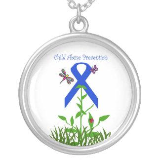 Blue ribbon flower necklace