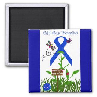 Blue Ribbon flower (Prevent Child Abuse) 2 Inch Square Magnet