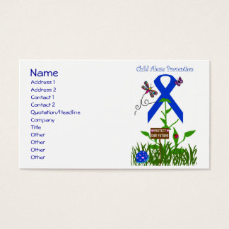 Blue Ribbon flower (Prevent Child Abuse) Business Card