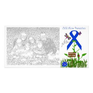 Blue Ribbon flower (Prevent Child Abuse) Card