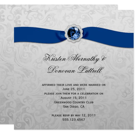 Blue Ribbon Gem Silver Post Wedding Invitation